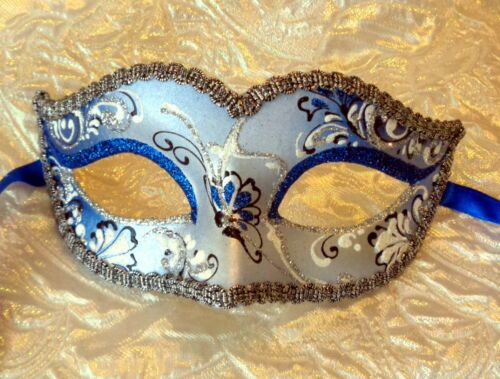 Ladies Masquerade Mask Bianca Sapphire Blue Italian OVERNIGHT Post Most Metro