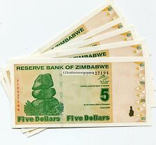 ZIMBABWE $5 NEW DOLLAR  2009 Equivalent to  Previous 500 Trillion x 5 Notes P 35