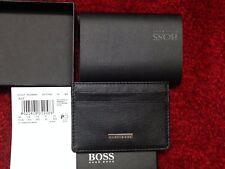 Hugo boss black leather slim business card holder clip 50128360 ebay hugo boss baz 50248896 black leather card holder pocket 1st class signed for colourmoves