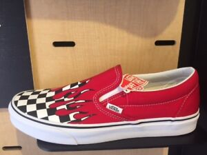 a280371f62 Vans Slip On Checker Flame Board Racing Red White Men Kids ...
