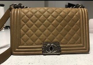 Image Is Loading Chanel Old Medium Le Boy Brown Caviar Quilted