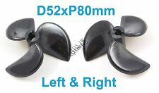 1 Set D52mxP80mm 3-Blades Left&Right RC Boat Propellers, 3/16 Shaft 038-06301-02