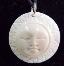 Sun Face Round Carved Water Buffalo Bone Indonesia Pendant Necklace Cord