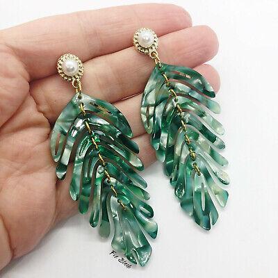 Green Tortoiseshell Palm Leaf Tree Acrylic Statement Earrings UK Tropical Fun