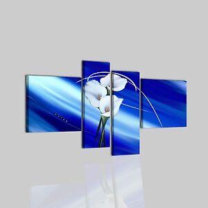 Quadri moderni astratti dipinti a mano su tela blu con for Quadri moderni astratti dipinti a mano