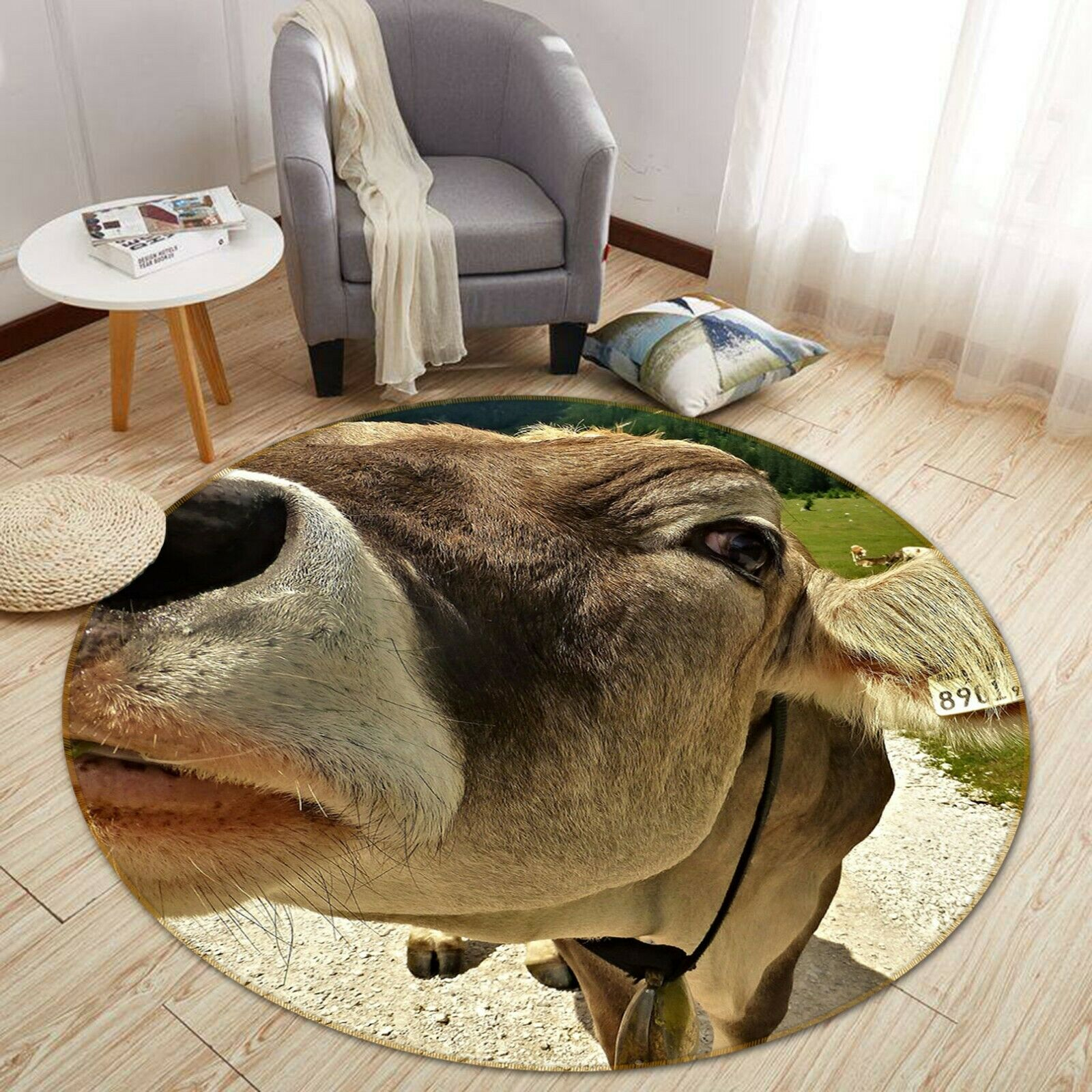 3D Pasture Cattle Head C05 Animal Non Slip Rug Mat Elegant Photo Carpet Zoe