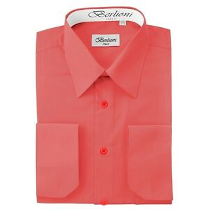Berlioni-Italy-Solid-Mens-Dress-Shirt-Italian-French-Convertible-Cuff-Coral