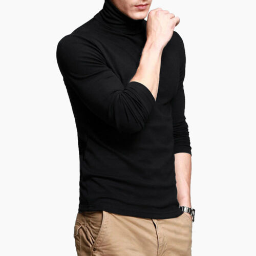 Men Tee Shirts High Collar Cotton Slim Top Stretch Turtleneck Long Sleeve New