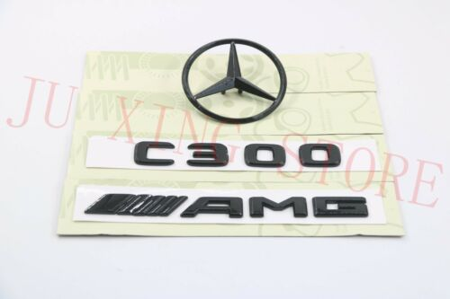 MERCEDES BENZ W205 GLOSS BLACK SET OF 3 REAR AMG C300 /& LOGO STAR BADGES EMBLEMS