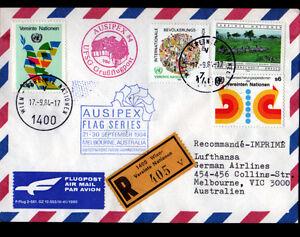 ENVELOPPE-Timbree-034-NATIONS-UNIES-034-Obliteration-Flamme-postale-AVIATION-en-1984