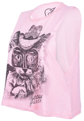 IRON Fist Lone Kitty Pussy Crop Muscle Tank Top Oversize Camicia Rockabilly