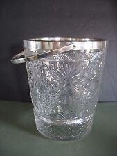 Vintage Ice Bucket Cooler Cut Glass Crystal Silver Plated Rim & handle Barware