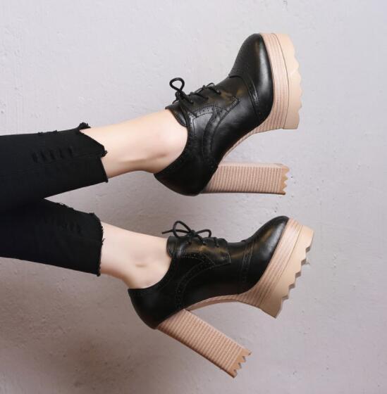 Chaussures Femme Plateforme Chunky Lace Up Punk Moto Talon Haut Bloc Chaussures Sz35-42
