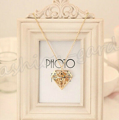 New Hollow Out Alloy Diamond Shape Crystal Pendant Necklace Long Sweater Chain