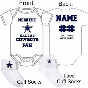 Personalized Dallas Cowboys Fan Baby Gerber Onesie Socks