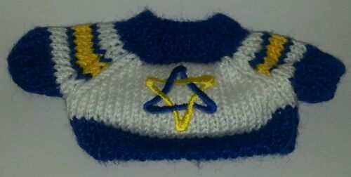 Star of David Jewish Large Knit Teddy Bear or doll Sweater Clothing wide