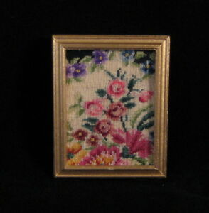 Miniature dollhouse artwork made with petit point -needlepoint.