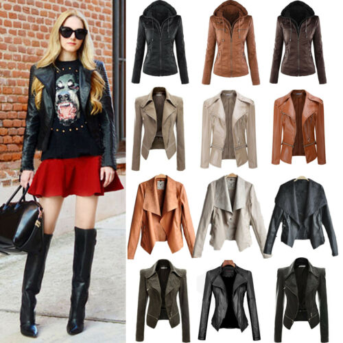 Womens PU Leather Jacket Biker Motorcycle Short Blazer Coat Outwear Plus Size 16