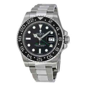 Rolex-GMT-Master-II-Black-Index-Dial-Oyster-Bracelet-Steel-Men-039-s-Watch-116710LN