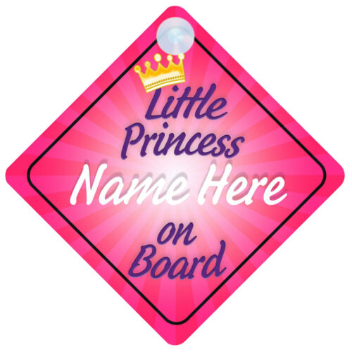 Choice of designs! Princess on Board Personalised Girl Baby//Child Car Sign