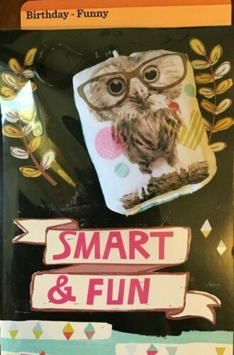 $3.00 KID TEEN FRIEND BIRTHDAY Card FUN OWL  Pillow Backpack CLIP SMART