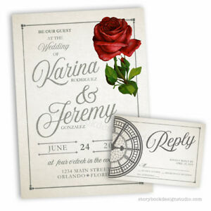 Details About 50 Beauty And The Beast Wedding Invitations Rose Tale As Old Time PRINTED