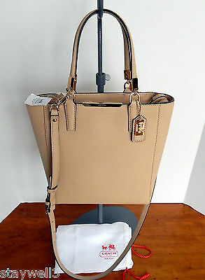 COACH Saffiano Leather Madison Tote w/Rem.Adj. Strap+DustBag NWT $258 + tax