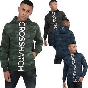 Crosshatch-Mens-Camo-Hoodie-Designer-Army-Style-Jacket-Zip-Thru-Pocket-Jacket