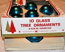 Vintage 9 Blue Glass Xmas Tree SS Kresge Ornaments