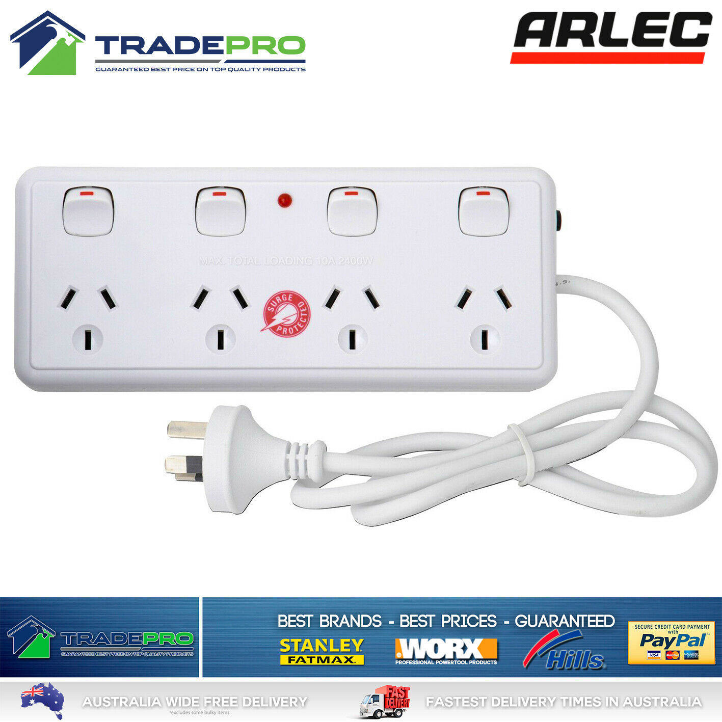 Power Board Surge Protector Arlec® Smart 4 Outlet Individual Switched White