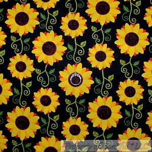 BonEful-Fabric-FQ-Cotton-Quilt-Black-Yellow-Sun-Flower-Orange-Red-Green-Leaf-Dot