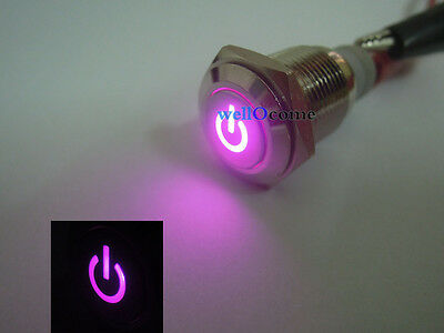 16mm 12V 3A Car Auto Purple LED Metal Switch Latching Push Button ON/OFF Switch