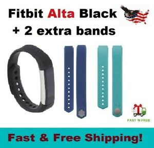 Fitbit Alta Activity Tracker Black Bundle Small Large 2 extra bands Teal Blue