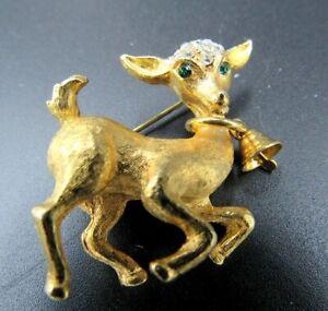 Vintage Lamb Brooch in Gold Tone Metal with Green Rhinestone Eyes