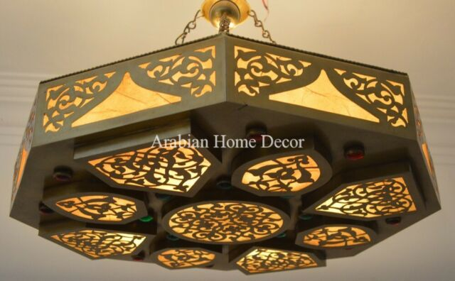 Handcrafted Moroccan Jeweled Brass Ceiling Light Fixture Chandelier Lamp For Sale Online