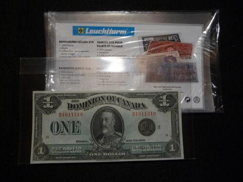 #4 LEUCHTTURM PREMIUM 210 HOLDERS for  X  LARGE  BANK NOTES pkg of 5