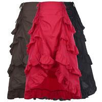 Gothic Corset LONG Skirt Victorian Steampunk Ruffle Vintage MAXI Skirt Red Black
