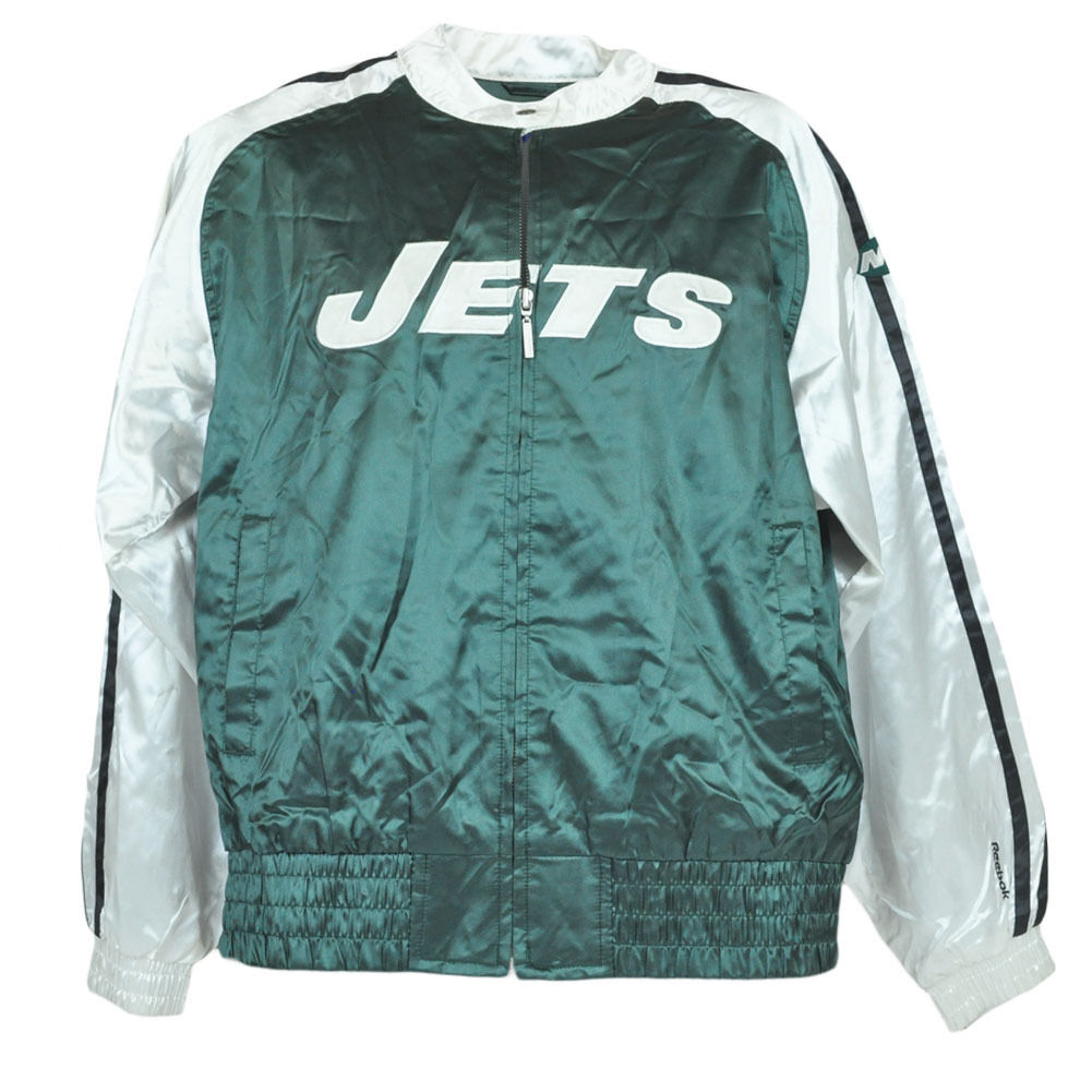 NFL Reebok Satin New York Jets Jacke Reißverschluss Trikot Pullover Damen