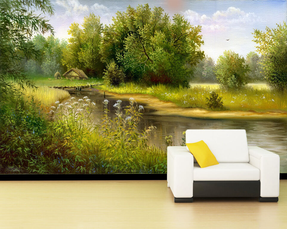 3D Wild Plants River 927 Wall Paper Wall Print Decal Wall Deco Indoor Wall