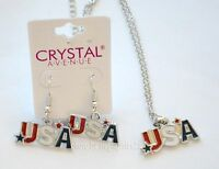 Usa Necklace & Fish-hook Earings / Silver-tone / American Red White & Blue