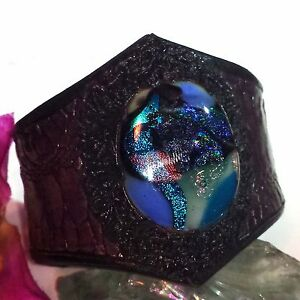 Armspange 11 Bangle Leder Dichroic Glass Dichroitisches Glas Handarbeit Unikat