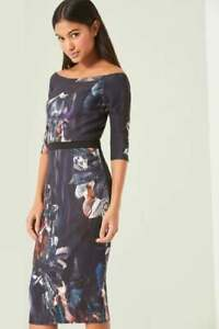 Little-Mistress-Floral-Print-Bardot-Bodycon-Dress-Size-UK-10-LF074-AA-19