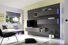 Parete attrezzata moderna di design, in legno e rovere grigio - 270X180 cm