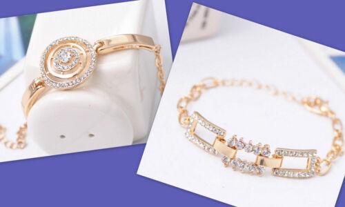 NEU Tolle Armbänder Gold mit viel Strass Rund oder Eckig   Edellook Nr.H2
