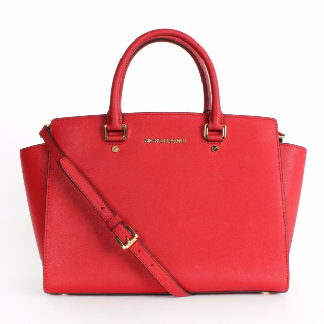67425a6b0cf43c Michael Kors Selma Large Satchel Saffiano Leather 30s3glms7l Red for ...