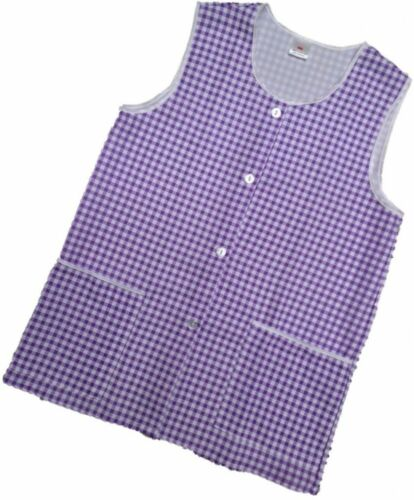 Elaine All Sizes Lilac 1 Ladies Check Sleeveless Tabard Apron Work Overall