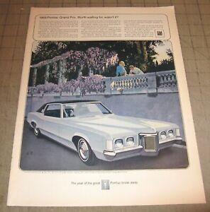 "1969 Light Blue PONTIAC GRAND PRIX 10.5"" x 14"" Life Magazine 1-Page Ad - GM"
