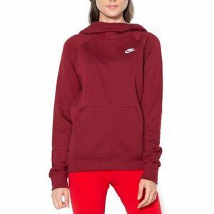 Détails sur Nike Sportswear Essential Sweats À Capuche Bordeaux Femme