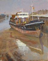 ORIGINAL MICHAEL RICHARDSON Waiting tide Trawler ship fishing boat OIL PAINTING