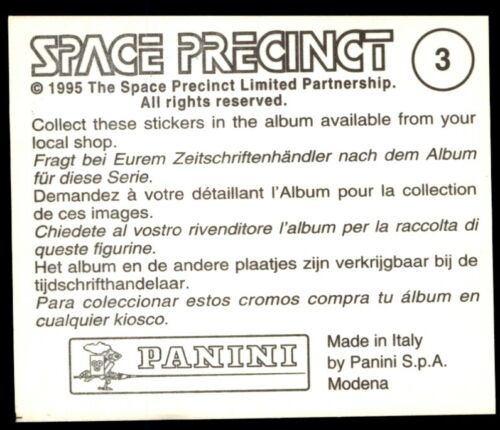 - Sticker No Gerry Anderson Panini Space Precinct 1995 3